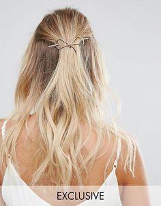 Orelia Metal Gold Bow Thread Through Hair Pin