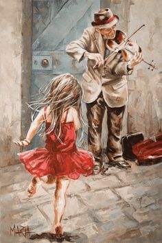 The Violin Player Original Fine Art Painting by Maria Magdalena Oosthuizen. Medium: Acrylic on Canvas. Stretched, and Blocked, Not Framed. Dimensions: Width (mm
