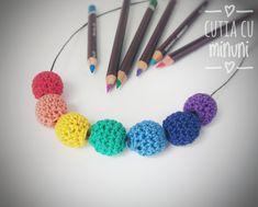 Colier crosetat in culorile curcubeului/ Rainbow crocheted necklace Rainbow Crochet, Crochet Necklace, Album, Artist, Jewelry, Jewlery, Jewerly, Artists, Schmuck