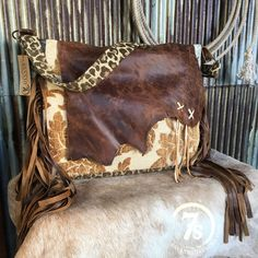 The Bear River Carpet Bag- Western carpetbag messenger bag or diaper bag. Beautiful neutrals tapestry front and back. Distressed rich soft brown leather front flap. Leather cross stitch fringe detail.