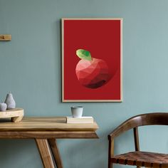 Red Apple Art Print - Gallery Wrap - 8x10 Inches