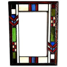 Colorful arts and crafts style art glass by Paul Sahlin surrounds your photo in this picture frame, which holds a 4 x 6 inch photograph.
