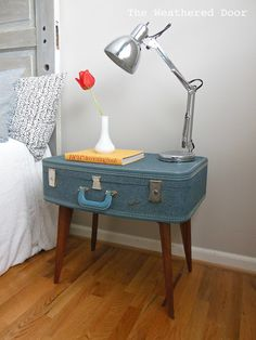 The Weathered Door: DIY Suitcase Side Table. Must try. I have a gray suitcase EXACTLY like this.