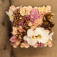 Posting up some work from last week, and new ones too! Exciting stuff. Here's Camille. She's a pretty sweet confection of pink and gold hydrangeas, 'lipstick' pink roses, blush pink and gold cymbidium orchids and white phalaenopsis orchid blooms too! #dinnerparty #maisondesroses #bloombox #Camille #pink #gold #hydrangeas #cymbidium #phalaenopsis #orchids #lipstick #roses #dreamy