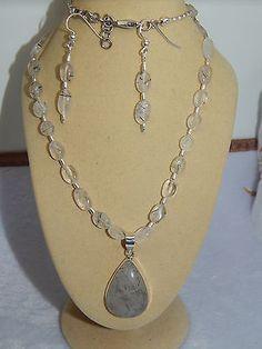 free form Rutilated Quartz pendant on Hand-made Rutilated Quartz beaded set