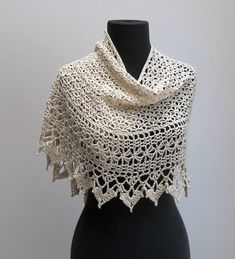 Custom Made Crochet Lace Scarf Shawl Wrap, Ivory Cream Off-White, Pima Cotton Acrylic, FREE SHIPPING by PeacefulPath on Etsy