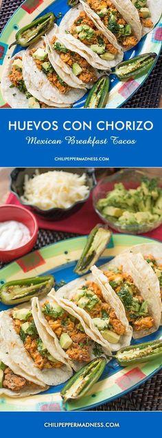 Huevos con Chorizo - Mexican Breakfast Tacos including spicy chorizo, eggs, avocado, sharp white cheddar, crema and roasted jalapenos | ChiliPepperMadness.com