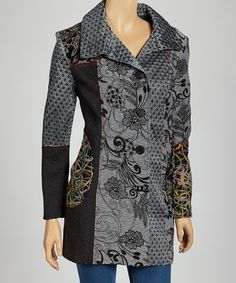 Take a look at this Black & Gray Floral Patchwork Jacket on zulily today!