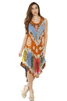 7d3c9dd810508 Plus Size Riviera Sun Summer Dresses   Swimsuit Cover Up (Floral Burst Acid  Wash