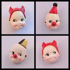 Doll face brooch pin - Dottie Dollie Clown, Devil