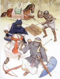Spanish cavalryman from aragon, Berber cavalryman and archer from the Mali Empire serving as border guards for the Almohad (Berber/Moor) dynasty 13th centuryAD