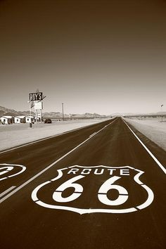 Route 66 Shield in the desert, Amboy, California