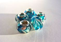 Blue & Pink Patterned Pandora Style by creativeDIYsupplies on Etsy, $3.25