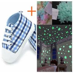 1d4cb743c5d Buy 100pcs Glow Wall Stickers+baby shoes Rainbow canvas casual shoes  toddler shoes