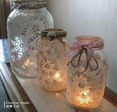Renda e vidro faíscas - rendas de luz de vela de vidro