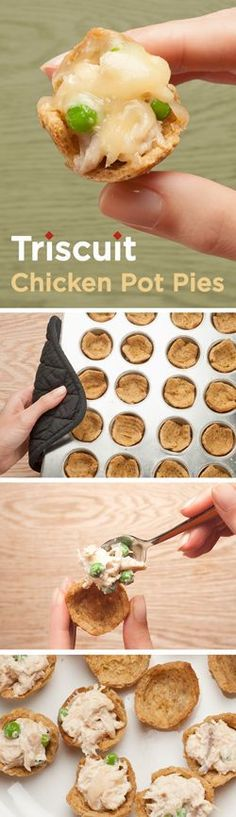 A fun, bite-sized take on Chicken Pot Pie will warm you up on any cold day! Start by making the muffin tin tray: soak TRISCUIT crackers in a bowl of whisked eggs until softened, and press one soaked cracker into each greased mini muffin tin cup. Bake for 15-20 mins at 350°F or until crispy and let cool. Next, create a mixture of shredded chicken, mayo and frozen peas. Scoop into each muffin tin, cover with swiss cheese, and bake for 10 mins. Enjoy!