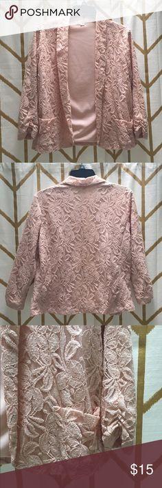 Xhilaration Pink Lace Jacket Blazer Lightweight floral Lace pink jacket/blazer with pockets and cinched sleeves. Xhilaration Jackets & Coats Blazers
