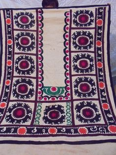 Uzbek Velour Embroidered Suzani Vintage/Antique Embroidery Style Wall Hanging