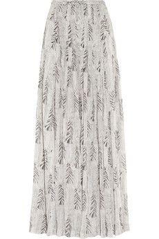 Feather-print silk-georgette maxi skirt