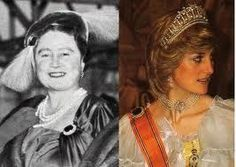 This piece is so clearly associated with Diana since she is the only royal to have worn it as a necklace. The sapphire surrounded by diamonds was a gift from the Queen Mother on the occasion of Diana's marriage to Prince Charles. This photo from 1958 shows the Queen Mother wearing what appears to be the brooch and the photo on the right is of Diana wearing it in 1982.