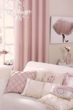 Pair of Pedal Pink Curtains Linen blend pink drapery Custom curtains extra long extra wide nursery room curtains Shabby Chic Living Room, Shabby Chic Bedrooms, Shabby Chic Homes, Shabby Chic Decor, Cozy Living, Trendy Bedroom, Pink Bedroom For Girls, Pink Bedroom Decor, Pink Bedrooms