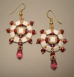 Tutorial Fragola Earrings beading pattern by FucsiaStyle on Etsy