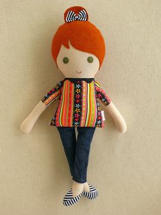Fabric Doll Rag Doll Red Haired Girl in Colorful by rovingovine, $35.00