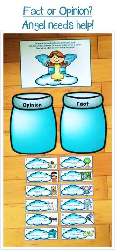 Help the Angel sort her misplaced clouds into the correct jars of 'Fact' and 'Opinion'. Children can learn to distinguish between facts and opinions through this activity. It's also great for reviewing the concept of fact and opinion or a quick group exercise.