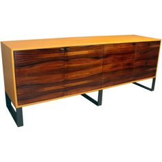 Custom Quadrar Leather Credenza in Salvaged Rosewood | From a unique collection of antique and modern cabinets at http://www.1stdibs.com/furniture/storage-case-pieces/cabinets/