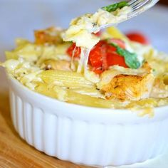 Baked Penne Pasta with Chicken Alfredo Sauce Recipe