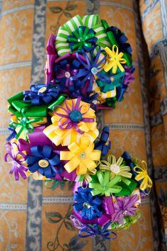I love the ribbon button bouquets. :)