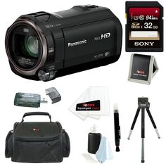Panasonic HC-V770 HD Camcorder with Wireless Smartphone Twin Video Capture with 32GB SD Card, Deluxe SLR Case Bundle