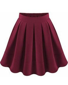 Wine Red Flare Pleated Skirt 21.83