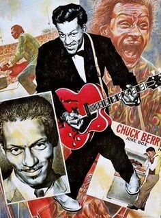 The King of Rock and Roll.Dead but not Forgotten. Rock N Roll Music, Rock And Roll, Rockabilly Boys, Caricature Drawing, Chuck Berry, Concert Posters, Music Posters, Hippie Life, Rhythm And Blues