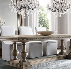 RH's Rectangular Table Collections:At Restoration Hardware, you'll explore an exceptional world of high quality unique dining room furniture. Browse our selection of dining room furniture sets & more at Restoration Hardware. World Of Interiors, Round Chandelier, Dinning Room Chandelier, Crystal Chandeliers, Extension Dining Table, Furniture Vanity, Kitchen Trends, Dining Room Table, Sweet Home