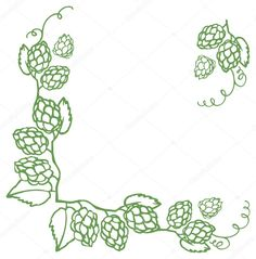 Frontera decorativa lúpulo vector illustration Hop Tattoo, Hops Vine, Vine Drawing, Belly Painting, Wood Carving, Wallpaper, Laser Engraving, Craft Beer, Illustration