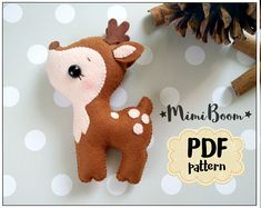 This is a digital tutorial on how to make the Deer  Included step by step instructions, pictures and full size pattern pieces. (no need to enlarge or resize). Its completely hand sew and you dont need a sewing machine.  THIS IS NOT A FINISHED TOY. THIS IS A PDF PATTERN DOWNLOAD.All needed materials you must to purchase yourself.  Approx. size of toy is: about 4 inch tall.  PDF tutorial includes: - Step by step pictures - English step by step instructions. - Materials list - Basic stitching…