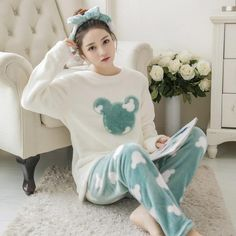Buy Flannel Pyjamas Women Winter Pajamas For Women Long Sleeve Cartoon Printed Sleepwear Pajama Sets Cute Home Clothes Pijamas Mujer Cute Pajama Sets, Cute Pajamas, Flannel Pajamas, Pajama Suit, Pajama Outfits, Girls Sleepwear, Sleepwear Sets, Pijamas Women, Mode Ulzzang