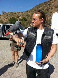 Charlie Hunnam on the set of Sons of Anarchy Season 7! Sucks that it's ending!!