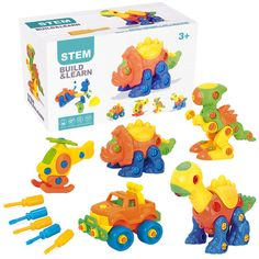 PUSITI Take Apart Toys STEM Learning Toys with Screwdriver Tools Dinosaurs Building Construction Toy Set 145 Pcs Dino Helicopter Jeep for Boys and Girls 3 4 5 6 Engineering Kit for Toddlers >>> More info could be found at the image url. (This is an affiliate link)
