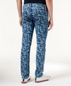 Tommy Hilfiger Men's Slim-Fit Puzzle-Print Jeans - Blue 32x30