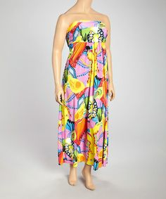 This Yellow & Pink Abstract Strapless Maxi Dress - Plus by 24/7 is perfect! #zulilyfinds