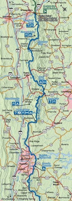 Harley Davidson Of Asheville >> blue ridge parkway map with mile markers | this map shows the southernmost section of the blue ...