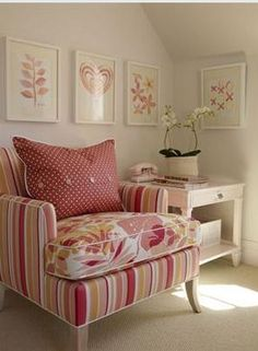 Sarah Richardson Pink art in Ikea ribba frames, pink painted accent side table with drawer, upholstered stripe pink chair with upholstered flower print pink cushion, white pink red polka dot pillow with buttons and wall to wall beige tan sand carpeting. Elegant Home Decor, Elegant Homes, Muebles Shabby Chic, Pink Room, Home And Deco, Contemporary Bedroom, Cottage Style, Red Cottage, Girls Bedroom