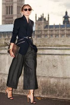 Wide leg trousers with a belted blazer is a chic, elegant look!