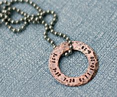 Hand Stamped Mens Washer Necklace Hand by 3LittlePixiesShoppe, $29.00