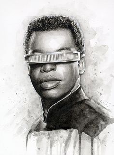 Watercolor Painting Geordi La Forge