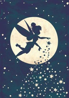 Disney Fairy, Tinkerbell, sprinkling her pixie dust as she flies past the moon and the stars Disney Magic, Walt Disney, Disney Fairies, Disney Love, Tinkerbell Disney, Tinkerbell Drawing, Disney Stars, Tinkerbell Pumpkin, Tinkerbell Quotes