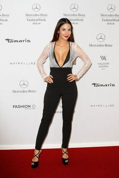 Steal: Sila Sahin's Mercedes Benz Berlin Fashion Week Missguided Lace Overlay Plunge Jumpsuit