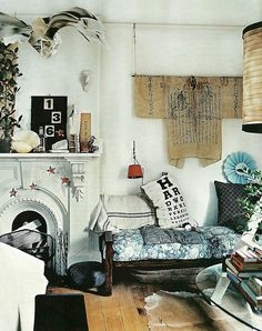eclectic flea market rustic vintage living room